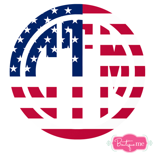 American Flag Monogram Decal