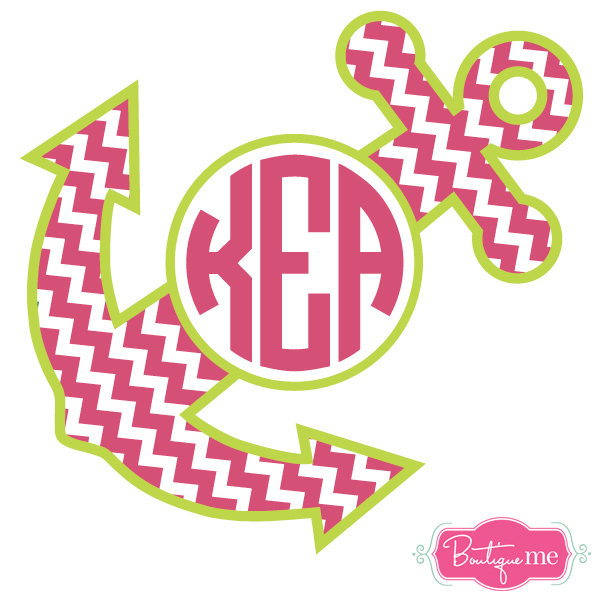 Chevron Anchor Monogram Decal