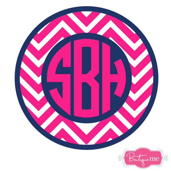 Chevron Circle Monogram Decal