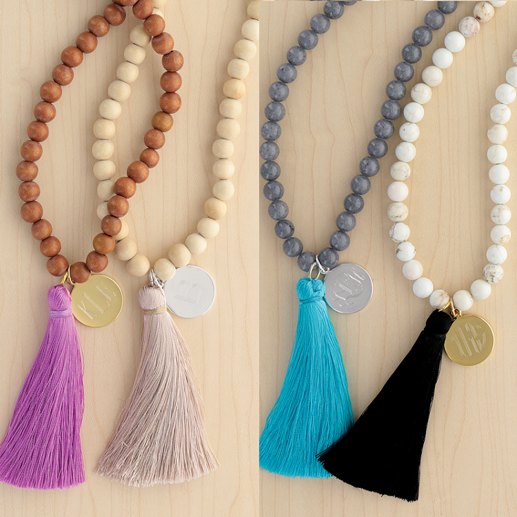 Monogrammed Bead Tassel Necklace