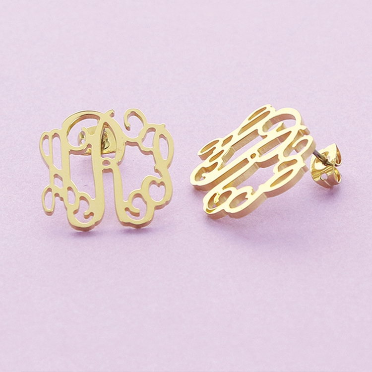 Floating Filigree Gold-Plated Monogrammed Earrings