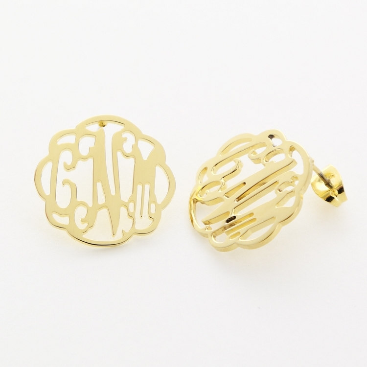 Flourished Gold Monogram Stud Earrings