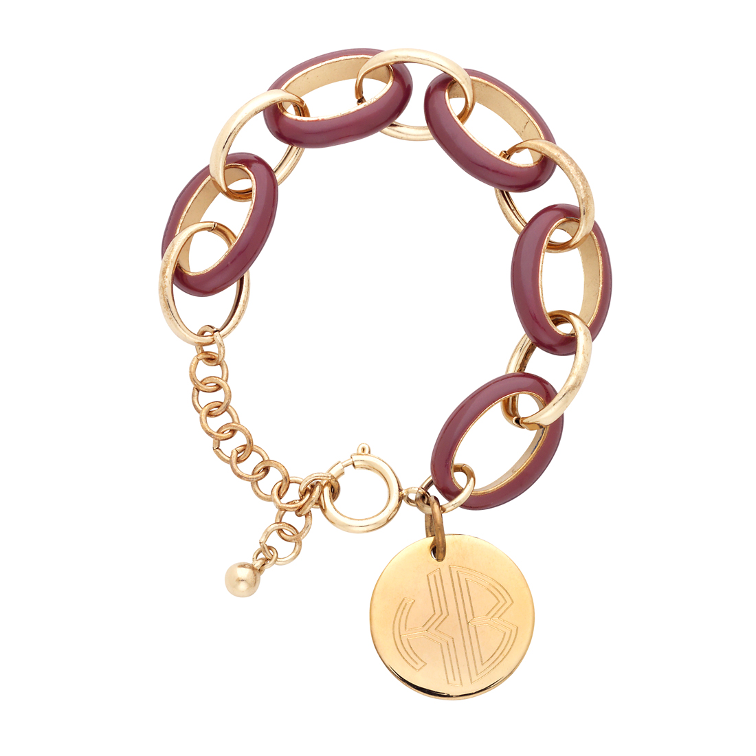 Garnet Enamel Link Bracelet with Gold Disc