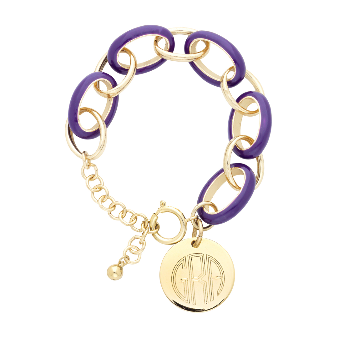 Purple Enamel Link Bracelet with Gold Disc