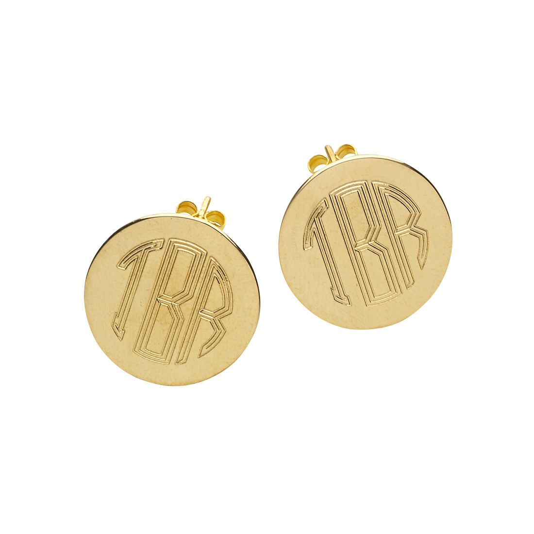 Gold Round Post Earrings