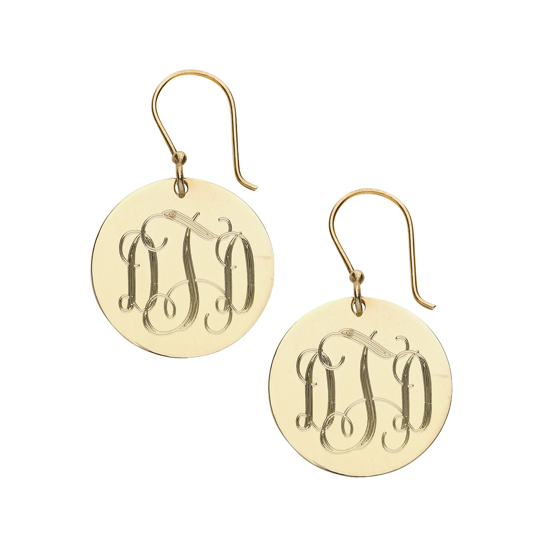 Gold Round French Wire Earrings