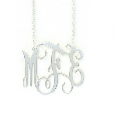 Sterling Silver Filigree Custom Cut Monogram Necklace