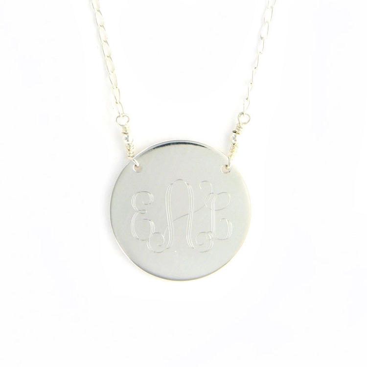 Silver Plated Round Monogram Necklace