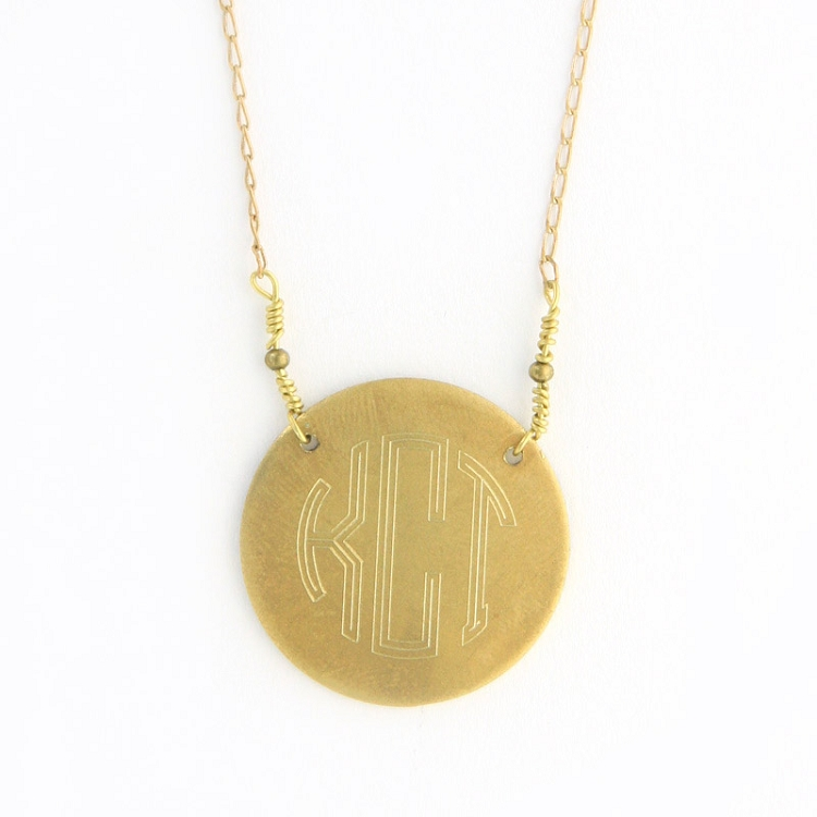 Old Gold Round Monogram Necklace