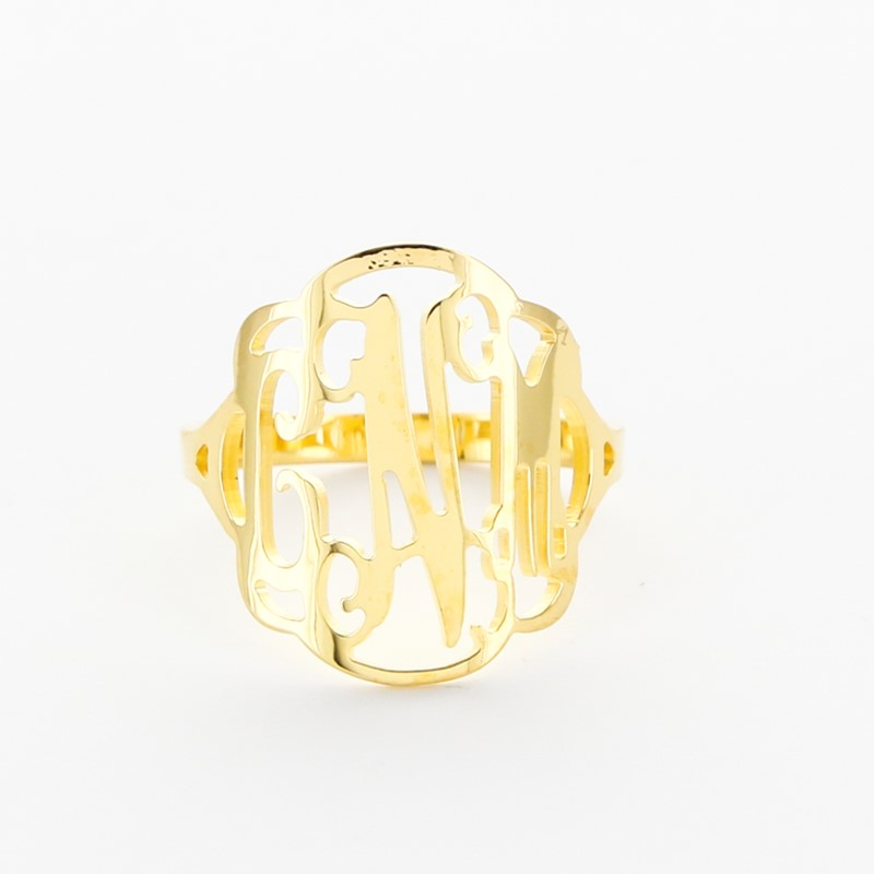 Script Monogram Flourished Gold Plated Ring