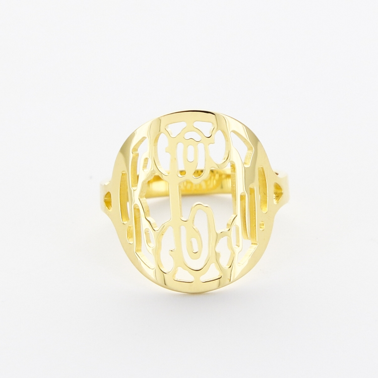 Script Monogram Rimmed Gold Plated Ring