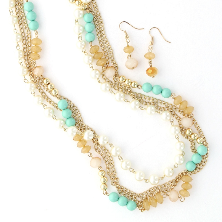 Mint & Gold Long Fashion Necklace & Earring Set