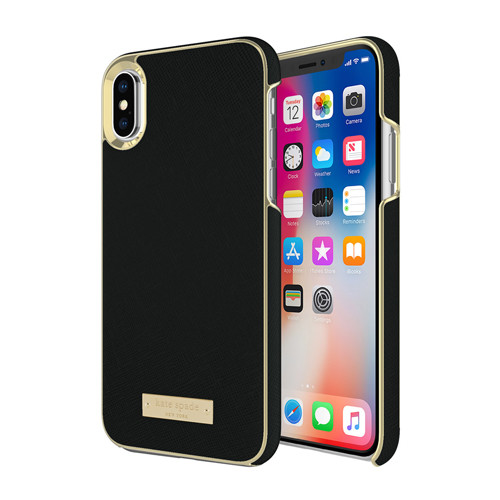 Kate Spade New York Saffiano Black and Gold iPhone X Case