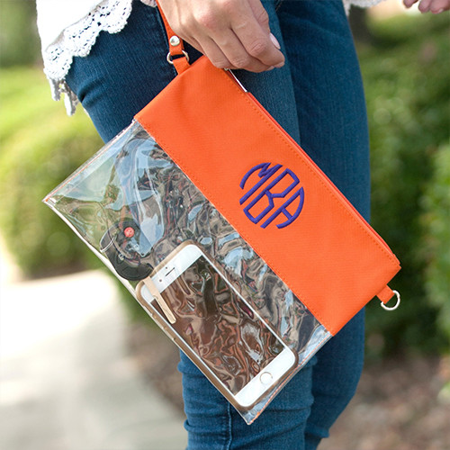 Orange Clear Zip Pouch