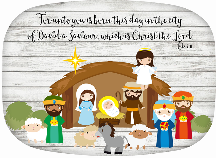 Personalized Melamine Platter - Nativity Scene Luke 2:11