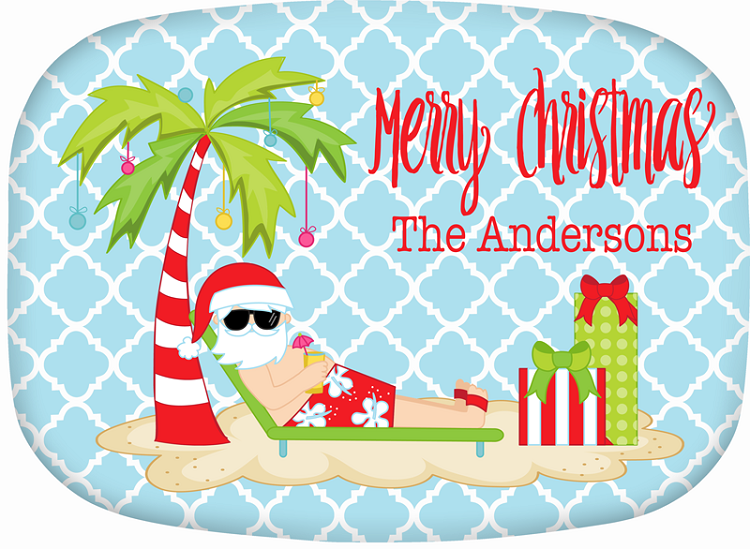 Personalized Melamine Platter - Christmas on the Beach