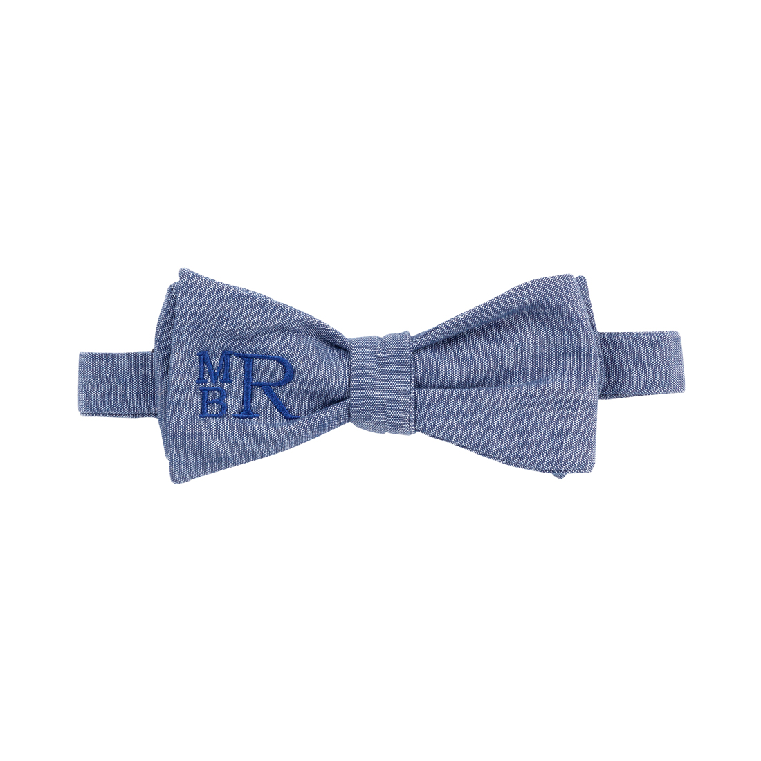 Monogrammed Chambray Bow Tie