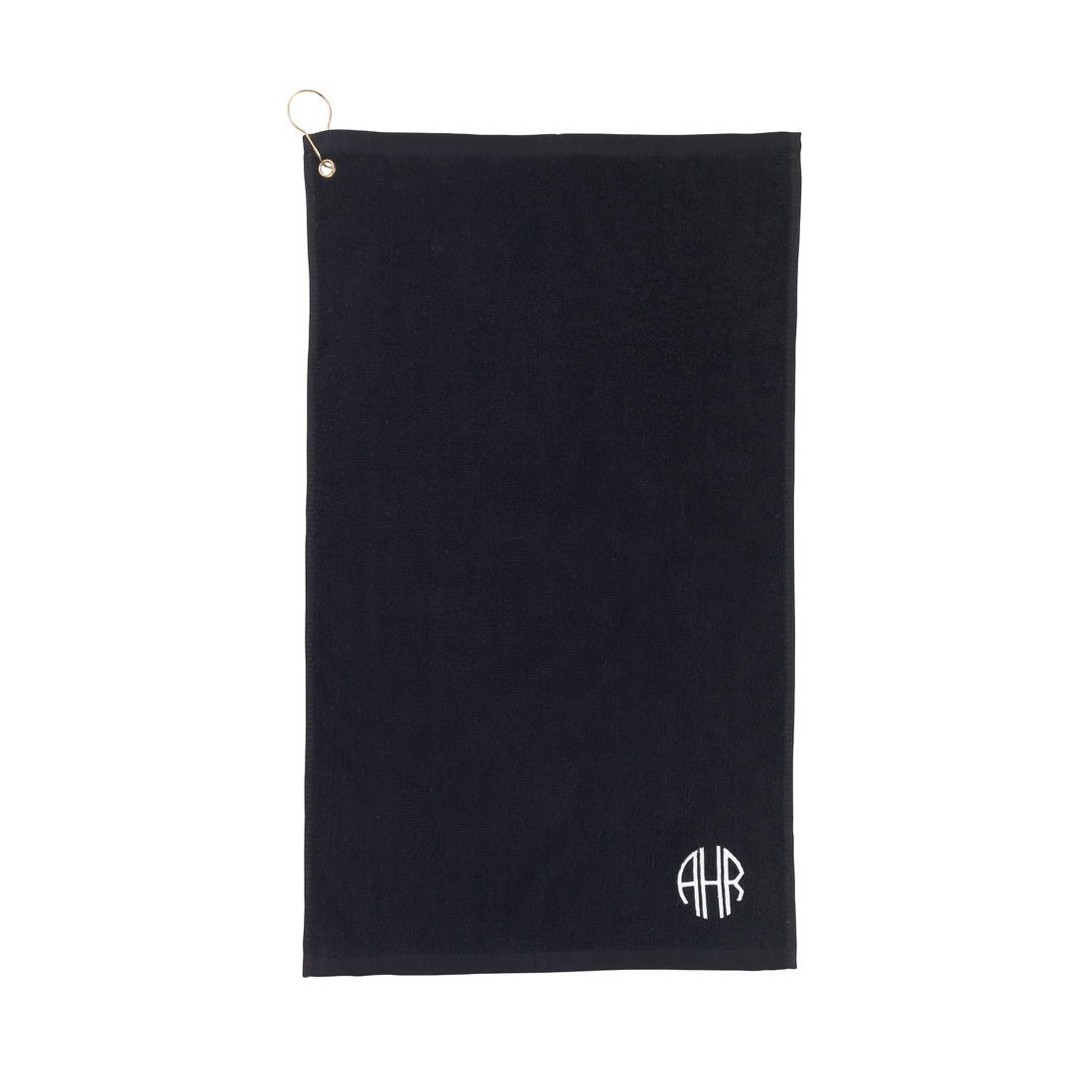 Monogrammed Black Golf Towel