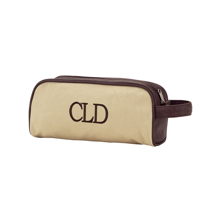 Monogrammed Brown Canvas Toiletry Bag