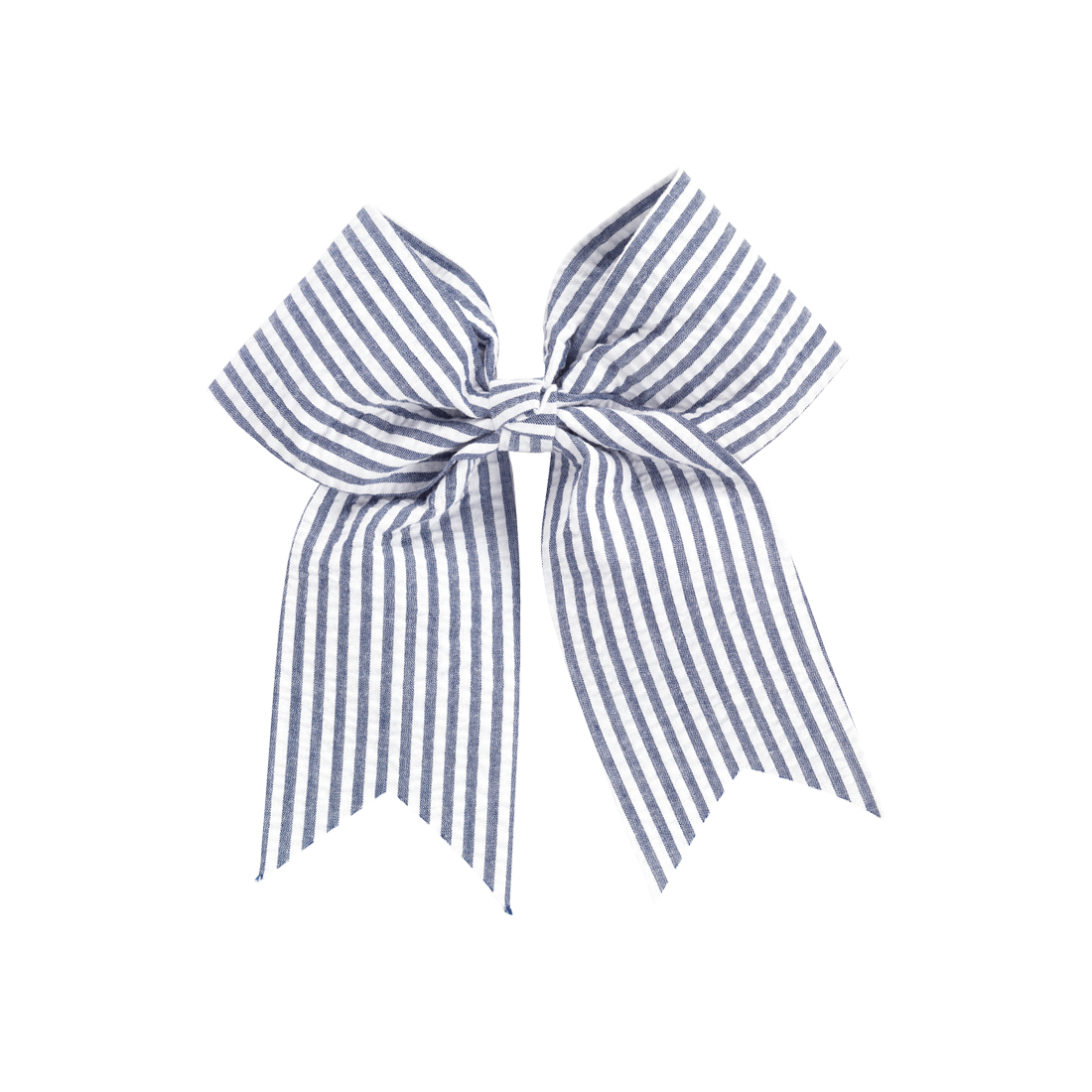 Monogrammed Navy Seersucker Hair Bow