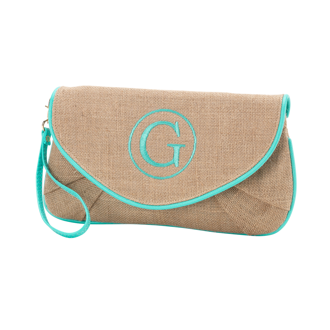Mint Trim Burlap Clutch