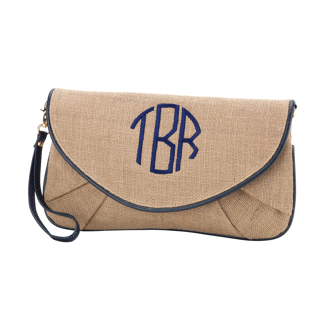 Navy Trim Burlap Clutch