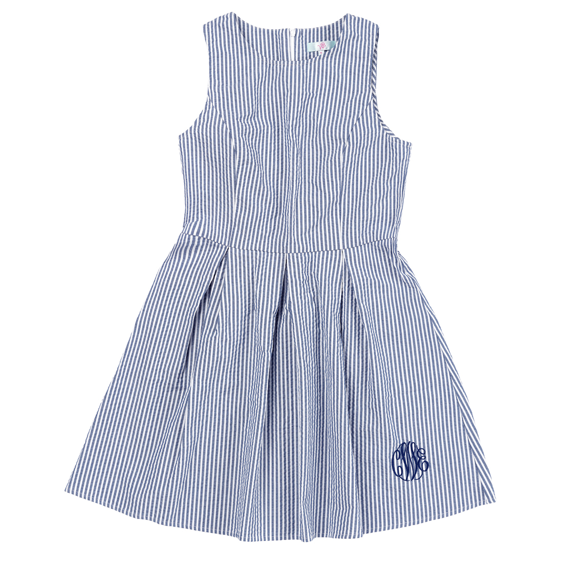 Monogrammed Navy Seersucker Dress