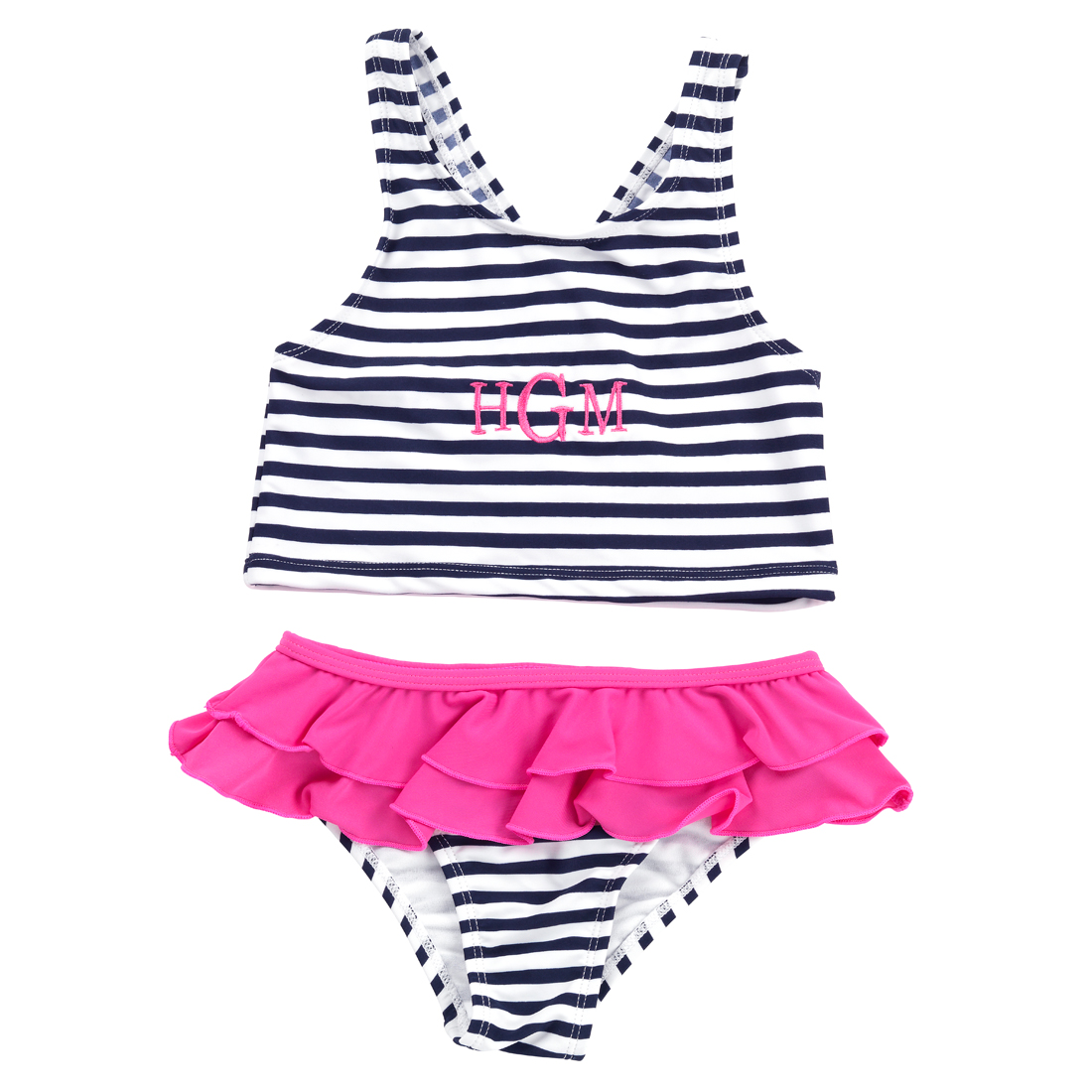 Monogrammed Mini Prep Stripe Swimsuit Set for Girls