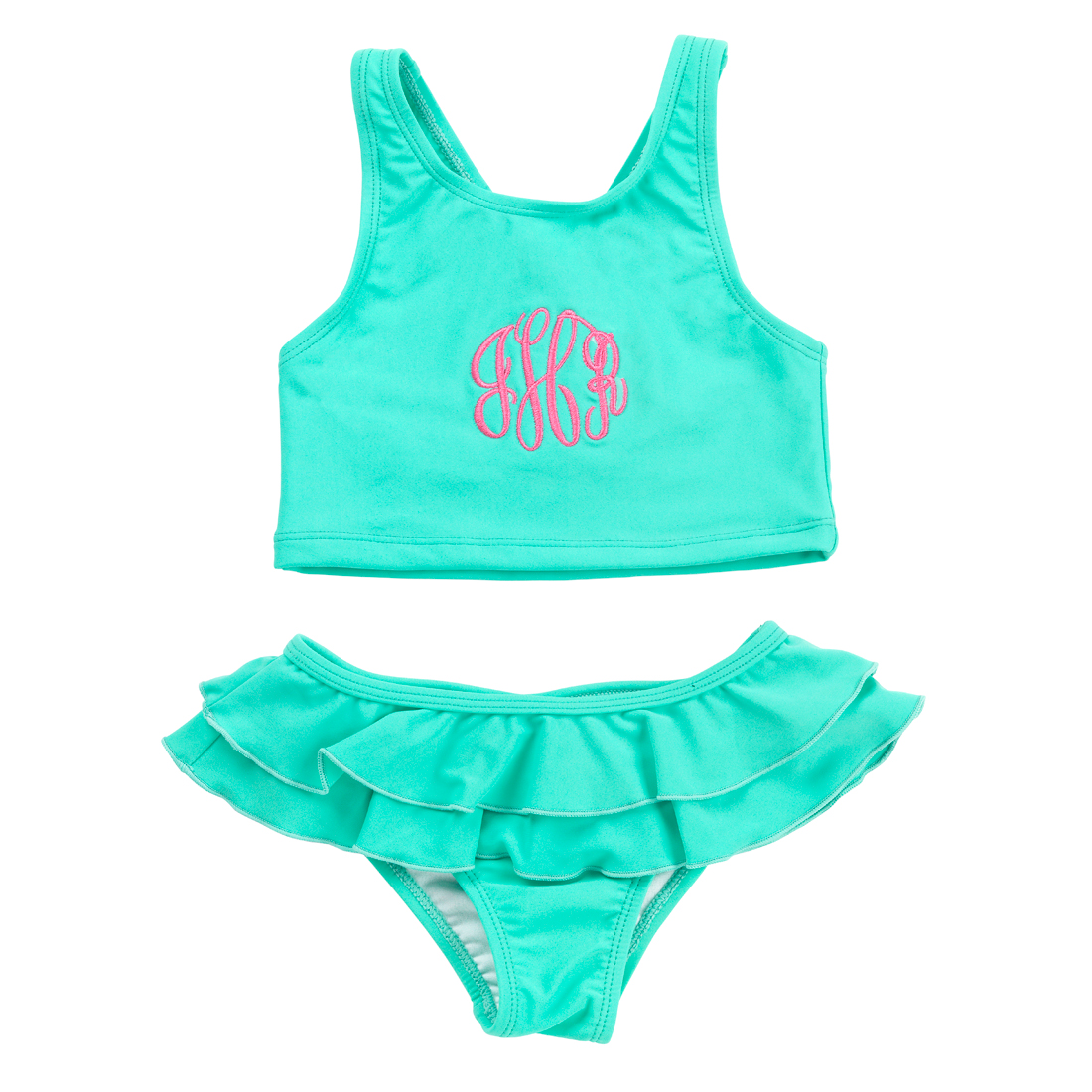 Monogrammed Mint Swimsuit Set for Girls
