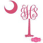 Monogrammed Palmetto Tree Decal