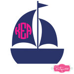 Sailboat Monogram Decal