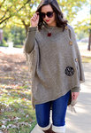 Monogrammed Taupe Poncho