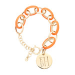 Orange Enamel Link Bracelet with Gold Disc