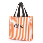 Orange Stripe Halloween Trick or Treat Tote