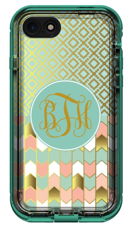 personalized mint and gold phone case