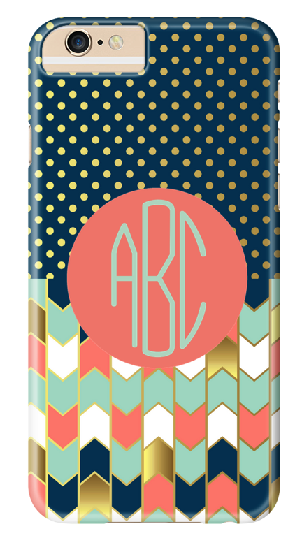 Preppy gold monogram phone case