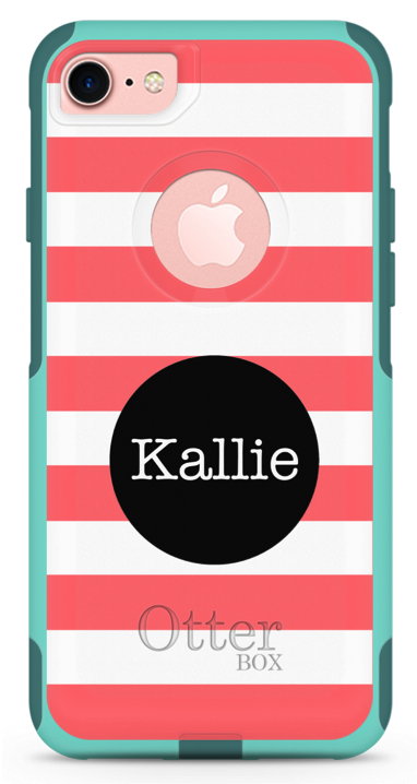 Pink rugby stripes phone case