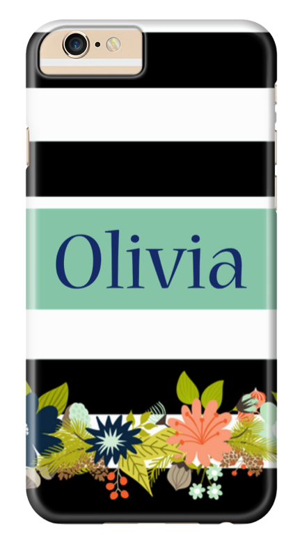 Stripes and flowers phone case
